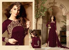 Maroon Party Wear Straight Salwar Kameez