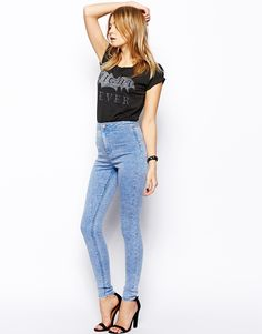 Rivington High Waist Denim Jeggings in Pretty Acid Wash