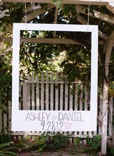 Love this idea! Different option to a Photobooth & great for outdoor/garden weddings (or engagement parties!) #gardenWeddings #outdoorgardening