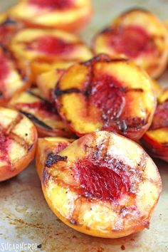 Grilled Pound Cake and Peaches - an easy summer dessert with honey-cinnamon caramel sauce! | From SugarHero.com