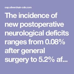 The  incidence  of  new  postoperative  neurological deficits  ranges  from  0.08%  after  general  surgery  to  5.2% after  cardiac  surgery. 3