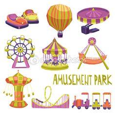 Jeu d'icônes de parc d'attractions — Illustration #71550779