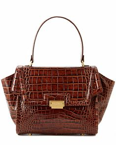 """Some of you have to get in on this: Elaine Turner """"Hattie"""" Croc-Embossed Leather Satchel"""