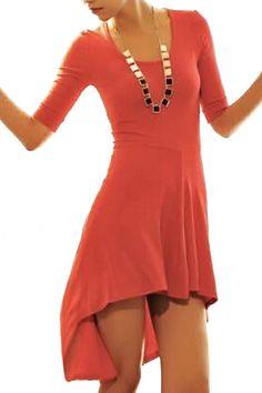 abaday Asymmetric Cropped Slim Red Dress - Fashion Clothing, Latest Street Fashion At Abaday.com