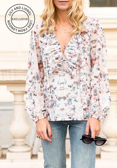This white blouse is a vision of bohemian summer.  The Alice White print, inspired by English Wild Flowers, was originally designed for Creative Director Alice Stone's bridesmaid's skirts and wedding stationary. The raw-edged hem of the ruffles lends a rock and roll edge to the soft, feminine print, whilst the figure-skimming cut is universally flattering.  100% Polyester Georgette