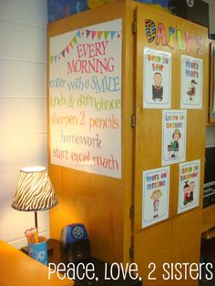 Classroom Layout Ideas and Morning Procedures Chart. I really like how this chart is available by the door to remind students of what is expected of them as soon as they enter the classroom. This makes for a very efficient start to the day.