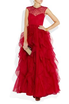 Valentino | Lace and ruffled silk-organza gown | NET-A-PORTER.COM (need a reason to WEAR THIS)