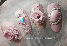 Nail Art Designs Videos, Nail Designs, 3d Nails, Pink Nails, Garra, Nail Art Wheel, 3d Flower Nails, Kawaii Nails, Manicure Y Pedicure