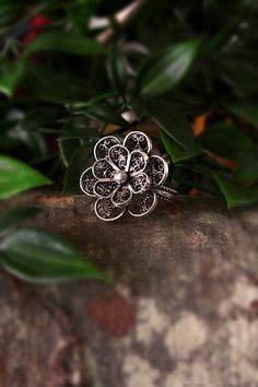 Flower Ring Sterling Silver Fine Silver Filigree | Etsy Silver Rings Handmade, Sterling Silver Rings, Silver Filigree, Statement Rings, Heart Ring, Handmade Items, Flowers, Etsy, Beautiful