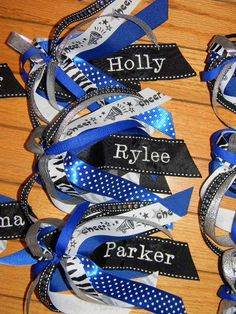 Cute for softball - but will lose the cheer ribbon as some won't like cuz it's too much cheer related. Softball Bows, Football Cheer, Cheerleading Bows, Girls Softball, Softball Players, Baseball, Volleyball Hair Bows, Softball Stuff, Volleyball Drills