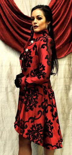 LIONHEART COAT - BLACK ON RED VELVET BROCADE