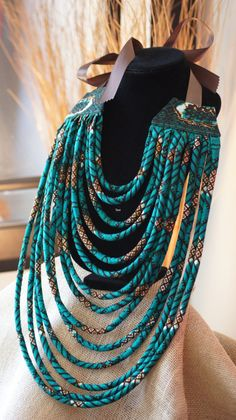 Ankara/ African Wax Print Tribal Multi Layered Rope Necklace Tutorial, Beginners sewing projects, sewing tutorials, DIY Jewelry Start creating your own custom hand painted leather hand bag Ideas Fashion Design For Beginners Tutorials For 2019 Tutorial Colar, Necklace Tutorial, Fabric Necklace, Rope Necklace, Necklaces, Wire Earrings, Collar Necklace, Textile Jewelry, Fabric Jewelry
