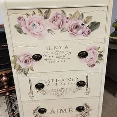 Rub On Transfers For Furniture Furniture Decals ReDesign Etsy Furniture, Decoupage Furniture, Design Furniture, Painted Furniture, Antique Furniture, Refinished Furniture, Furniture Projects, Furniture Makeover, Light Blue Flowers