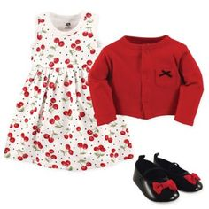Add an adorable outfit to your little one's wardrobe with the Cherry Cardigan, Dress and Shoe Set from Hudson Baby. The darling set includes a dress with allover cherry print, cute shoes, and a red cardigan to put on when the night turns cool. Cute Dress Outfits, Cute Dresses, Girls Dresses, Doll Dresses, Baby Dresses, Baby Tutu, Baby Baby, Baby Girls, Dress With Cardigan