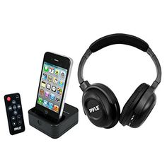 Pyle UHF Wireless Stereo Headphone with Wireless iPhoneiPod Dock Transmitter and RF Remote Control -- Want additional info? Click on the image. (This is an affiliate link) #AudioDocks