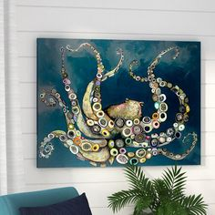Beachcrest Home Octopus in the Deep Blue Sea by Eli Halpin - Wrapped Canvas Print Size: Kraken, Mini Toile, Octopus Art, Octopus Painting, Painting Prints, Art Prints, Paintings, Canvas Online, Canvas Art