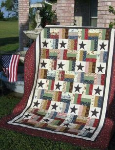 military quilt Star Quilt - Alernating stars with rail fence blocks