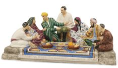 Inkstand From The 'Discussion of The Stalin Constitution in Uzbekistan' Desk Set, Lomonosov State Porcelain Factory, Leningrad, the whiteware late 1930s, painted circa 1975