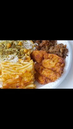 Bajan food is delish. Flying fish, macaroni pie, rice & peas.