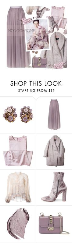 """""""Monochrome style"""" by magdafunk ❤ liked on Polyvore featuring Needle & Thread, Etrala London, Chloé, Steve Madden, Christian Dior, Valentino and monochrome"""