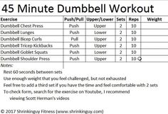 45 Minute Full Body Dumbbell Workout for Beginners - Shrinkinguy Fitness il est cru qu'est Dumbell Full Body Workout, Dumbbell Workout For Beginners, Mens Full Body Workout, 45 Min Workout, Tuesday Workout, Full Body Dumbbell Workout, Home Workout Men, Gym Workouts For Men, Workout Plan For Men
