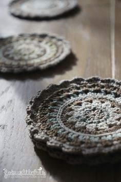 Cute handmade crochet coasters by FabuStitches on www.etsy.com/shop/fabustitches