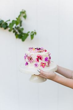 Bridal shower dessert idea - one-tier wedding cake with fresh pink flowers {Courtesy of almost makes perfect}