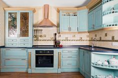 crackle+paint+cabinets   How To Renovate Kitchen Cabinets In Provence Style   Shelterness