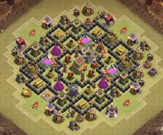 OMG These anti dragon base designs are really cool because of which dragons stopped flying after seeing this town hall 8 base layouts and killed themselves. Clash Of Clans Levels, Clash Of Clans App, Clash Of Clans Gems, Clas Of Clan, Trophy Base, Advanced Squad Leader, Dragon Base, Town Hall, Game Art