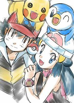 Fan art of Ash and Dawn from Pokemon! Pokemon Show, All Pokemon, Pokemon Fan, Pokemon Go Images, Ash And Dawn, Pikachu Drawing, Pokemon Advanced, Pokemon People, Cute Pokemon Wallpaper