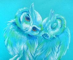 Lovey Owls Art Print by Erin Garey