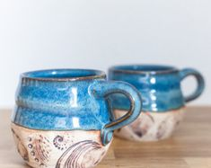 Cozy Coffee Mug - Fireside Coffee Mug - Blue Ceramic Coffee Mug