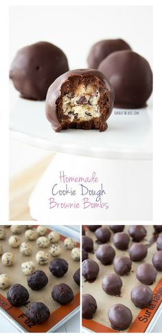 Homemade Cookie Dough Brownie Bombs Homemade Cookie Dough Brownie Bombs feature egg-free cookie dough balls covered in fudgy homemade brownie and dipped in chocolate. Candy Recipes, Baking Recipes, Sweet Recipes, Cookie Recipes, Homemade Cookie Dough, Homemade Brownies, Homemade Cookies, Egg Free Cookies, Cookies Et Biscuits
