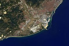 On the north east coast of the Iberian Peninsula, the Spanish city of Barcelona is pictured in this image from Japan's ALOS satellite. Aquatic Birds, Iberian Peninsula, Wild Fire, World Geography, Space Photos, Earth From Space, East Coast, City Photo, Spain