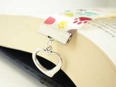 Heart with Cream and MultiColored Paw Prints Satin by Araleanne, $8.00