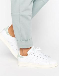 adidas Originals White Stan Smith Trainers With Pastel Green Detail