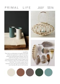 PRIMAL LIFE _ JULY_2016.  Mood board inspired by WGSN trend Encounter Culture. Homeware trends. Anthroppologie Candle Holder. Mint green and Neutrals colours. Trend SS16. Colour trends.