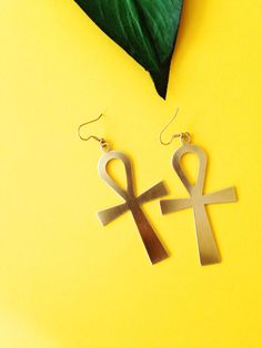 Large Gold Ankh Dangle Earrings // Key of Life, Ankh Dangle Earrings, Ancient Egyptian Jewelry, Ethnic Jewelry, Brass Jewelry, Afrocentric