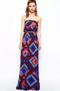 c0bf671e9f753 LUCLUC Printed Strapless Long Dress Blue Summer Dresses