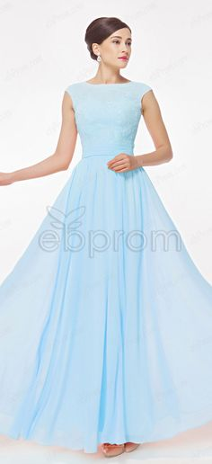 bec52b5991cfd Light Blue Modest Bridesmaid Dresses with Lace Appliques Cap sleeves, bridesmaid  dresses, formal gown. ebProm