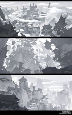 ArtStation - The composition design, G liulian Environment Painting, Environment Concept, Scenery Background, Animation Background, Digital Art Tutorial, Digital Painting Tutorials, Landscape Concept, Landscape Art, Landscape Illustration