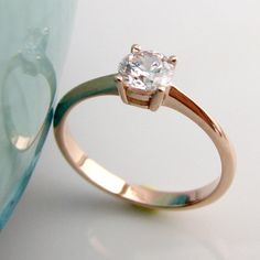 White Sapphire Solitaire Engagement Ring  18K Rose by 360Diamonds, $99.00