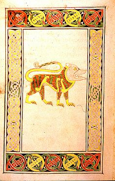 The golden lion, symbol of St. Mark from the Book of Durrow, Ireland. c. 7th century AD