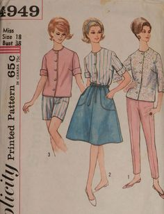 Vtg 1960s Simplicity 4949 Blouse Top Shorts Pants WRAP Skirt Sewing PATTERN 18  | eBay