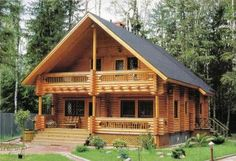 Chalet look--I've never seen a log cabin with this look. Cabins In The Woods, House In The Woods, Bungalow, Villa, Cabin Kits, Log Cabin Homes, Log Cabins, Small Log Cabin, Rustic Cabins