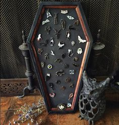 Coffin Cork Board, Tac Board, Enamel Pin Display, Coffin, Cork, Gothic, Gothic Decor. #jewelry #display #storage #goth #witches