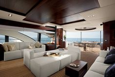 Azimut Leonardo 100 yacht is a new supplement to the Azimut Yachts. Azimut Leonardo 100 has four cabins and it can accommodate eight person. Luxury Yacht Interior, Boat Interior, Interior Design, Yatch Boat, Catamaran, Azimut Yachts, Monaco Yacht Show, Boat Insurance, Yacht Design