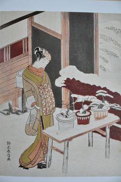 Suzuki Harunobu, chûban nishiki-e, : Mitate of the potted trees (Hachi no ki), from a Nô play. Japanese Artwork, Japanese Prints, Art Pictures, Art Images, Art Occidental, Korean Painting, Japan Painting, Art Asiatique, Bonsai Art