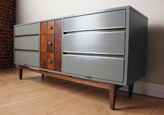 gray mid century modern vintage dresser / credenza_blue.lamb furnishings