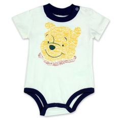 Great For A Baby Shower Gift Disney Winnie The Pooh Cream Creeper      Size 3/6 Months 6/9 Months     Color Cream and Navy Blue     Made From 100% Cotton     Label Disney Winnie The Pooh     Officially Licensed Disney Winnie The Pooh Baby Clothes #Disney